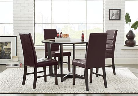 5 pc dining room set cardi s furniture mabry espresso brown 5 pc dining set glass top