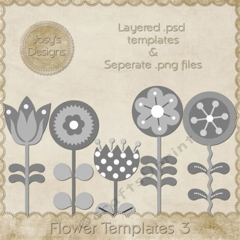 Layered Flower Card Template by Flower Layered Templates Pkg 3 Cup748517 70864