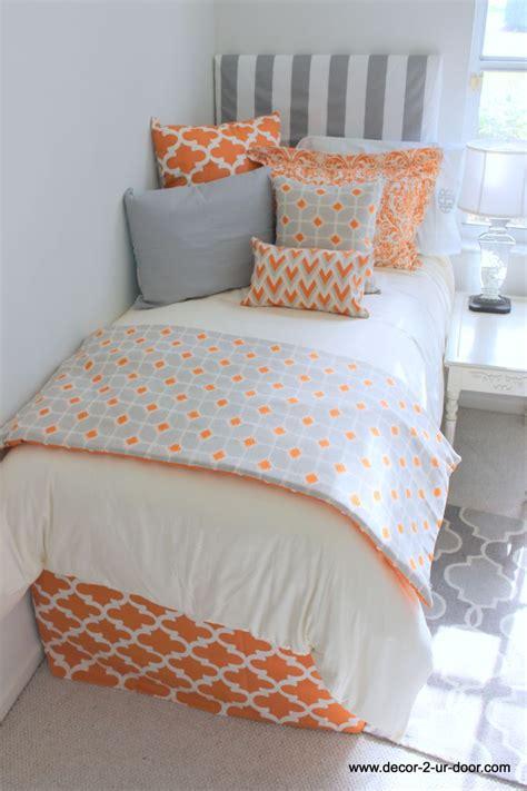 college dorm comforter tangerine and grey designer dorm room bedding www decor 2