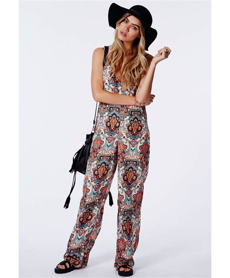 Jumpsuit Ethnic lyst missguided cyryla ethnic print jumpsuit in blue