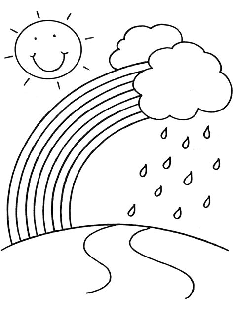 Pictures Of Rainbows To Color by Rainbow Coloring Pages For Childrens Printable For Free