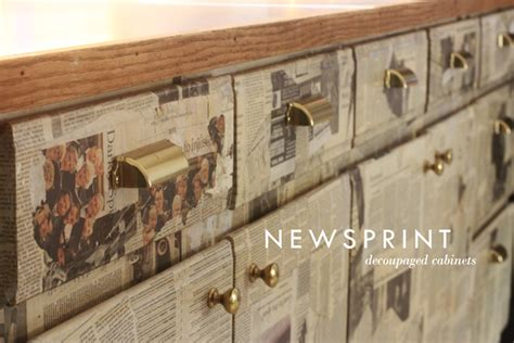 decoupage newspaper newsprint cabinets