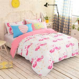 Twin Size Duvet Cover Pink And White Flamingo Print Animal Themed Modern Chic