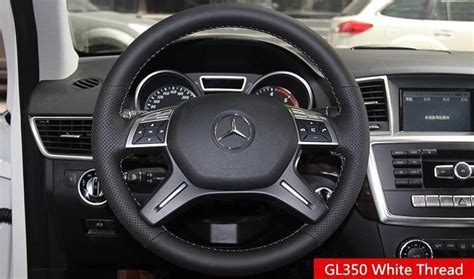 Mercedes Steering Wheel Covers by Black Genuine Leather Stitched Diy Car Steering Wheel