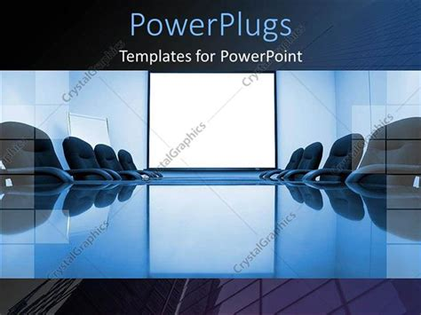 powerpoint template blue conference room with office