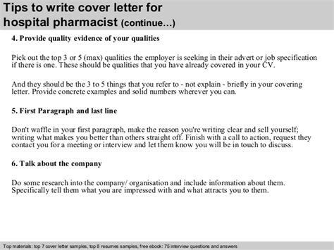 cover letter for a pharmacist hospital pharmacist cover letter