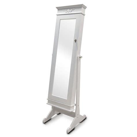 free standing full length mirror jewelry armoire baxton studio bimini white finish wood crown molding top