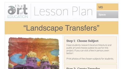 Landscape Lesson Landscape Transfers Free Lesson Plan The Of Ed