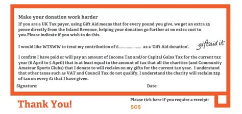 Gift Aid Receipt Template by Gift Aid Form Sos