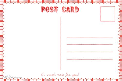 post card print template free printable postcard templates