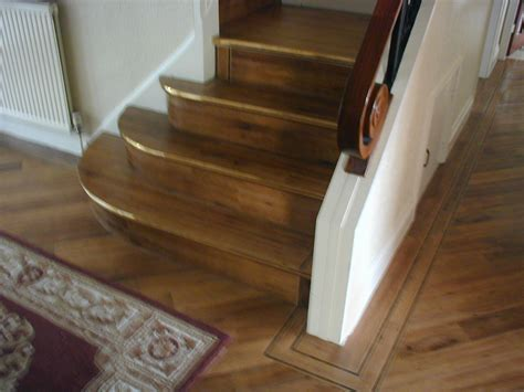 Amtico Signature fitted onto stairs with solid brass