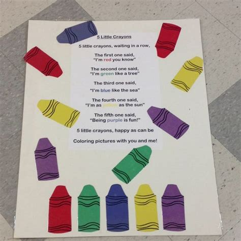 colors song rap 5 crayon finger play finger plays poetry