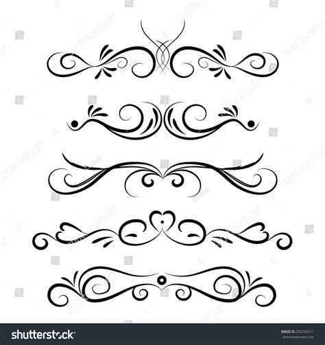 decorations drawings set of page decoration line drawing design elements