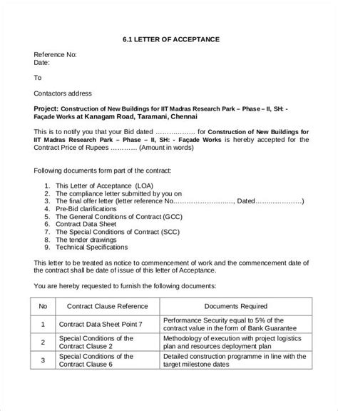 Contract Letter Of Acceptance Sle Sle Contract Agreement 30 Exles In Word Pdf