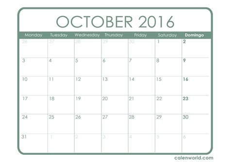 template of calendar october 2016 calendar printable template 2017 printable