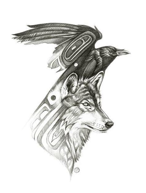 wolf raven together we survive the winter art antler