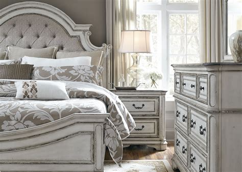 white panel bedroom set magnolia manor antique white upholstered panel bedroom set