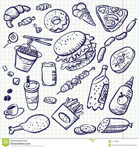 Doodle Food Stock Vector Image Of Hamburger Junk Burger