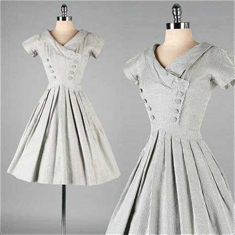 Black And White Vintage Dress vintage 1950s dress black white checked cotton suzy