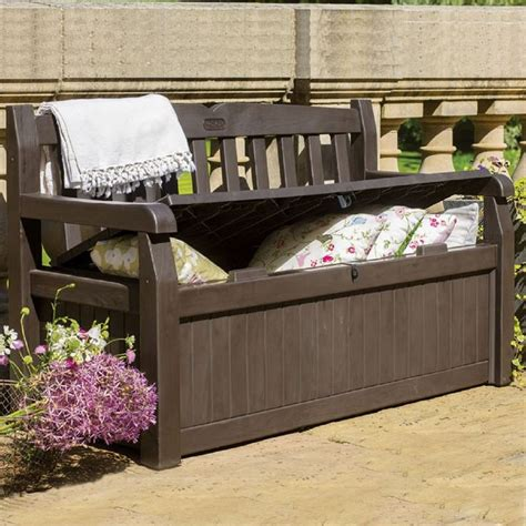 keter 70 gallon bench deck box 25 best ideas about deck box on pinterest pool storage