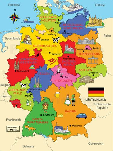 deutsche mappe illustrated germany map