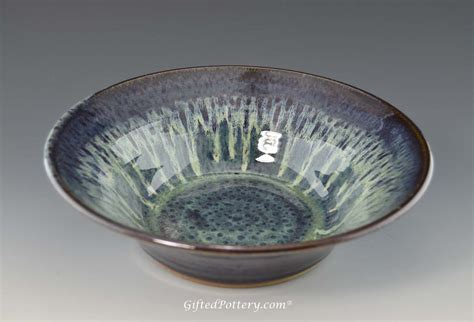 Handcrafted Pottery - handmade pottery serving bowl peacock blue