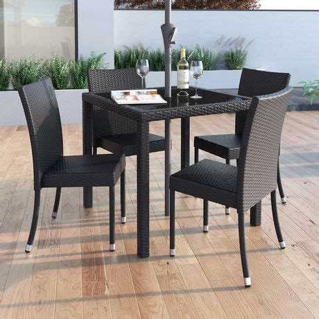 corliving park terrace charcoal black weave dining chairs
