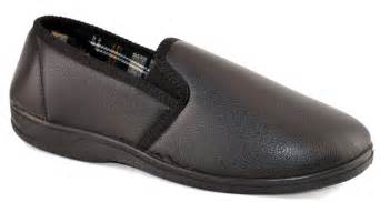 mens faux leather cushioned slip on rubber sole bedroom