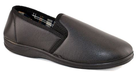 mens bedroom shoes mens faux leather cushioned slip on rubber sole bedroom