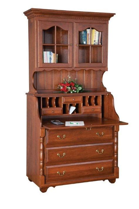 solid wood secretary desk amish slant top secretary desk with hutch top