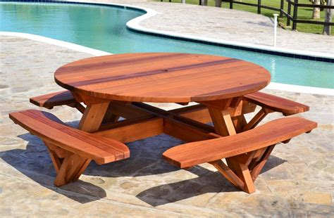 wood picnic benches round wooden picnic table with attached benches