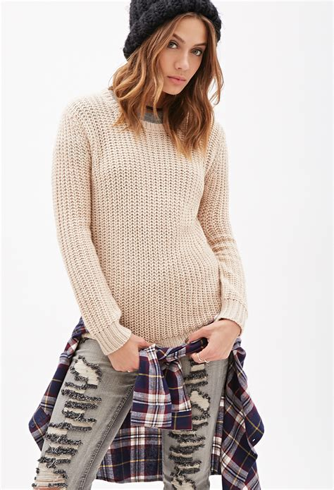 knitted sweaters forever 21 forever 21 purl knit sweater in lyst
