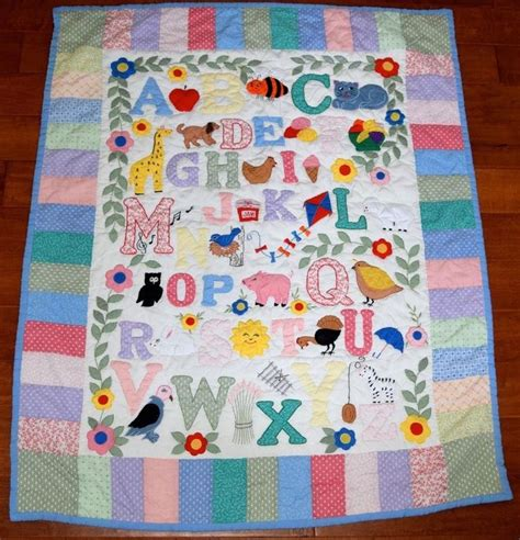 Handmade Applique Quilts - vintage abc handmade baby quilt blanket comforter wall
