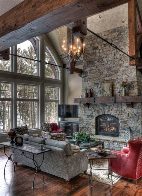 rustic retreat natural stone fireplace reclaimed wood