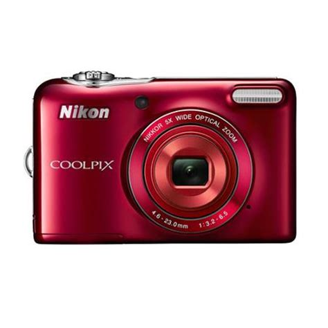 nikon red coolpix l32 digital camera with 20.1 megapixels