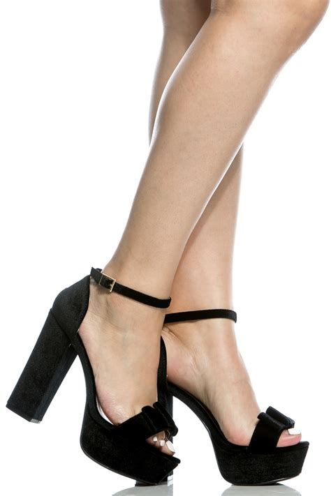 Bow Accent Chunky Heel Shoes black velvet bow accent chunky platform heels cicihot