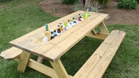 how to make picnic bench jigs picnic table with ice trough plans