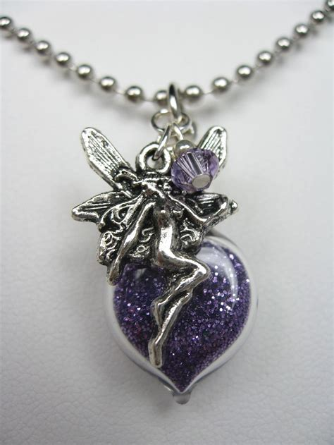 purple pixie dust necklace with charm