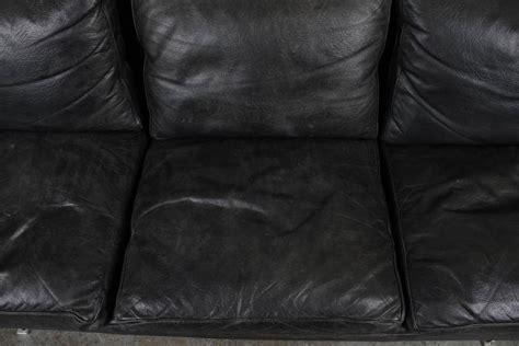 Black Leather Sofa With Chrome Legs Mid Century Modern Black Leather Sofa With Chrome Legs At 1stdibs