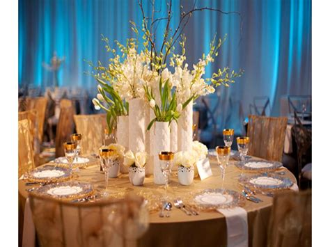 Contemporary Blue White And Chagne Wedding Reception Wedding Reception Centerpieces