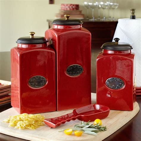 red kitchen canister sets ceramic red ceramic kitchen canisters rooster red set ceramic