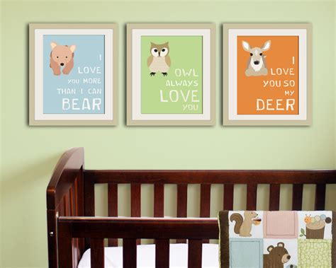 Woodland Nursery Decor Forest Animal Kids Wall Art Animal Nursery Decor