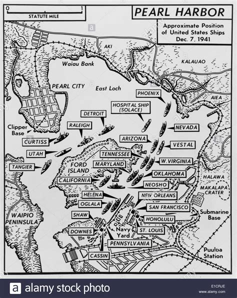 map of pearl harbor with location of ships just prior to the japanese stock photo royalty free