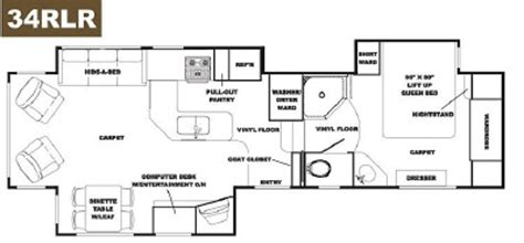 alpenlite 5th wheel floor plans 2007 western rv alpenlite voyager 34rlr floorplan