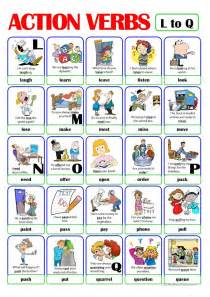 pictionary verb set 3 from l to q worksheet
