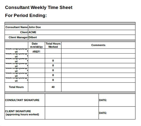 25 Excel Timesheet Templates Free Sle Exle Format Download Free Premium Templates Free Consultant Timesheet Template