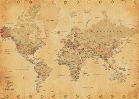 How To Make A Paper Map - world map vintage style paper poster camden