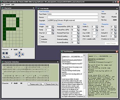 typography editor cylog software raster font editor
