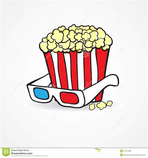 popcorn and 3d glasses cinema concept background royalty