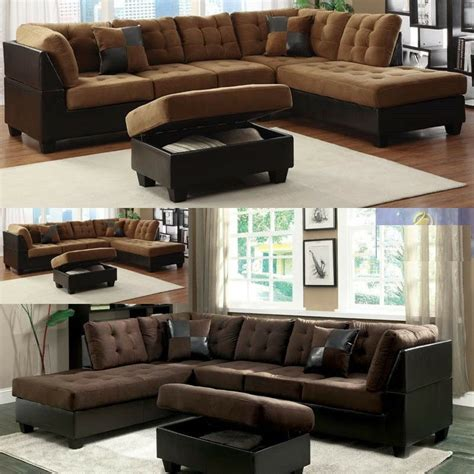 sectional microfiber sofa microfiber sectional leather sofa furniture in 2 color 3pc living room set ebay